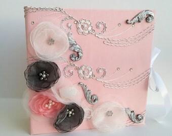 Lace Wedding Album, Luxury Wedding Album, Blush pink Photo album, Silver Wedding Album, Custom Wedding Photo album, Personalized album
