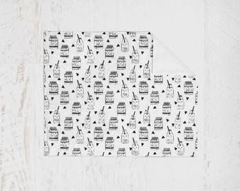 Organic Swaddle Blanket Monochrome Milk. Lightweight Baby Blanket. Receiving Blanket. Baby Swaddle. Milk Swaddle. Nursing