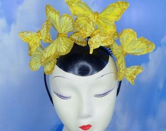 Snapchat Butterfly Filter Crown Selfie Costume Feather Butterfly Fascinator Headband Hat Hatinator Headdress -  Burning Man, Woodland