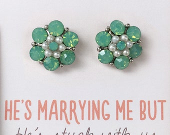 Mint Studs Mint Bridesmaid Jewelry Bridesmaid Earrings Mint Earrings Mint Studs Bridal Party Gift Bridesmaid Jewelry E357-MT