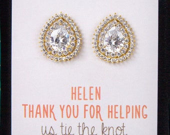 Clip On Earrings Gold Earrings Personalized Bridesmaids Gifts Bridesmaid Earrings Bridesmaids Gifts Wedding Bridal Jewelry E332G-CLIP