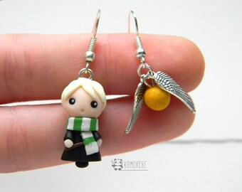 Draco Malfoy, Slytherin, Harry Potter inspired, earrings, Earrings