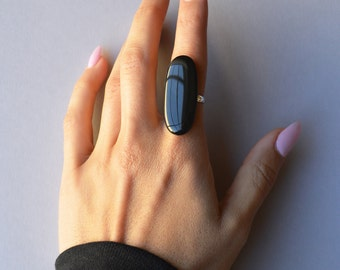 Black Oval Ring Jewelry // Black Rings, Grunge, Soft Grunge, Grunge Rings, Goth, Gothic Rings, Witch Rings, Witchy Jewelry, Black Jewelry