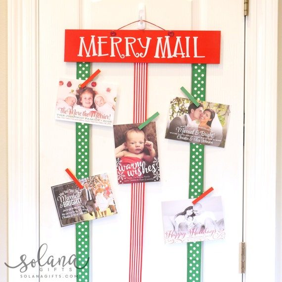 Items similar to merry mail christmas card display for Christmas card holder wall hanging