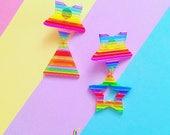 Rainbow Geometric Dangle Earrings