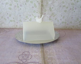 Vintage Mepra Inox Italy Covered Butter Dish Birdhouse Lid and Stainless Bottom