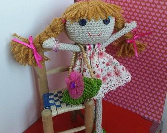 OOAK Handmade Doll / Crochet Doll / Gifts for Girls / Handmade Toys / Brown Hair Doll / Amigurumi Doll /