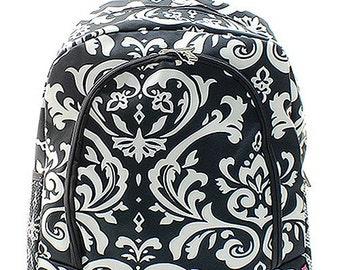 Personalized Black and White Damask Backpack Book Bag Monogram Name Bookbag Custom Embroidered