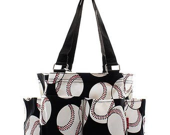 SALE Personalized Baseball Print Small Zipper Top Caddy Utility Tote * Monogrammed  Organizer Tote * Custom Embroidered w/ Name or Monogram