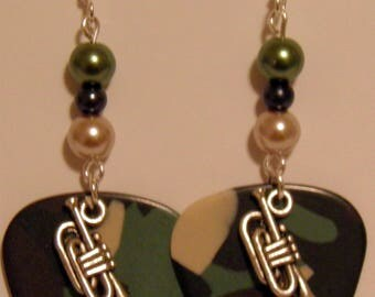 FRENCH HORN Musical Instrument Charm on Guitar Pick Beaded Earrings - Handmade in USA
