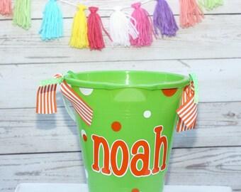 Monogram Beach Pail Sand Pail Bucket Personalized Easter Basket Personalized Beach Pail Sand Bucket Easter Party Favor Birthday Present
