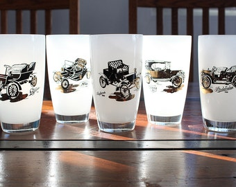 Vintage Hazel Atlas Frosted Highball glasses - Automotive set of 5
