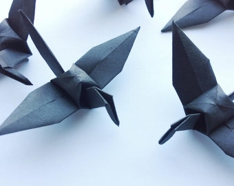 Origami Paper Crane 100 Black - Origami Birds - Folded Paper Birds - Wedding Decoration Ornament Decoration - Wedding Favours - Baby Shower