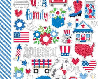NEW & ON SALE! Yankee Doodle Mini Icon Stickers from Doodlebug Design - 2 Sheets