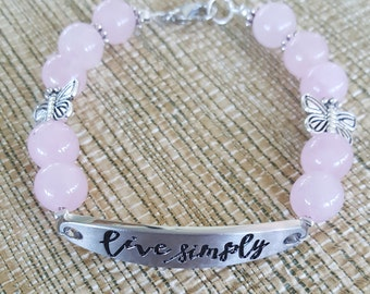 Rose Quartz Affirmation Bracelet/Gift for Her/Gift for Me/Birthday Gift/Mothers Day