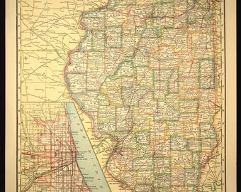 TWO SIDED Antique Road Map Illinois Map Original Highway Roadway