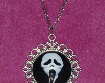 Ghostface / Scream Inspired Silver Cameo Necklace