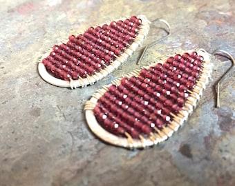 Garnet gemstone silver hoop earrings