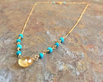 Turquoise and citrine gemstone gold necklace