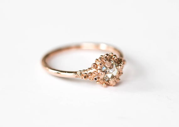 14k rose gold and rose cut moissanite barnacle engagement ring, barnacle promise ring, rose gold moissanite nature ring, ocean engagement