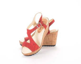 Cork Wedge sandals - FREE SHIPPING WORLDWIDE / ladies Shoes / Cork woman sandals / Summer Shoes - Vegan Eco Friendly Gift Idea