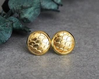 Gold Mermaid Earrings, Gold Stud Earrings, Gold Fish Scale Earrings, Gold Dragon Scale Earrings, Gold Post Earrings, Gold Post Earrings