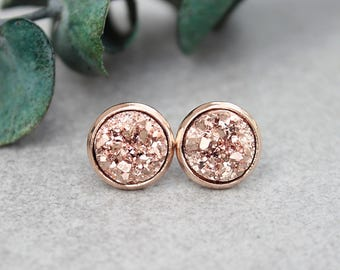 Rose Gold Stud Earrings, Rose Gold Druzy Earrings, Rose Gold Earrings, Rose Gold Post Earring, Rosegold Druzy Earring,Gold Stud Earring,10MM