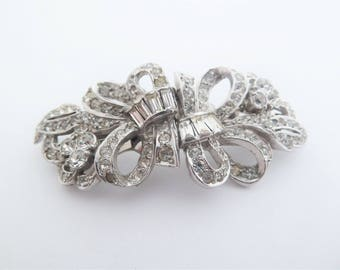 Vintage Art Deco Duette Brooch or Pair of Dress Clips with Clear Rhinestones