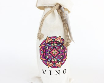 Fathers day gift, Wine tote, Wine Gift Bag, Wine Tote Bag, Hostess Gift, Wine Gifts, Mandala Art