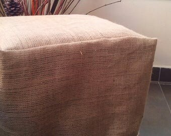 Burlap Ottoman Slipcover - Burlap Ottoman Cover with Luxury Fringe - Ottoman Cover - Chair Cover - Slipcover  - Rustic Decor - Home Decor
