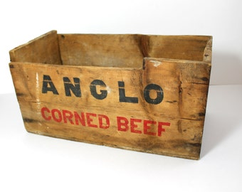 Vintage Anglo Corned Beef Uruguay Wooden Crate Box Advertising