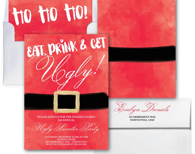 Ugly Sweater Party Invitation // Christmas Party Invitation // Holiday Party Invitation // Glitter // Red // NORTH POLE COLLECTION