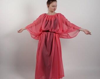 Ancient Greek Women Chiton Tunic In Pink Chiffon