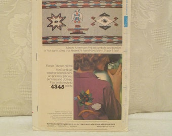 Vintage Boho Embroidery Transfer, Butterick 4345, 70's Iron On, Jacobean Flower, Butterfly, Hippie Floral, Instant Ethnic Embroidery Pattern