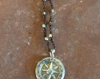 Fine Silver Compass Necklace |  Precious Metal Clay | Hand Crocheted Necklace