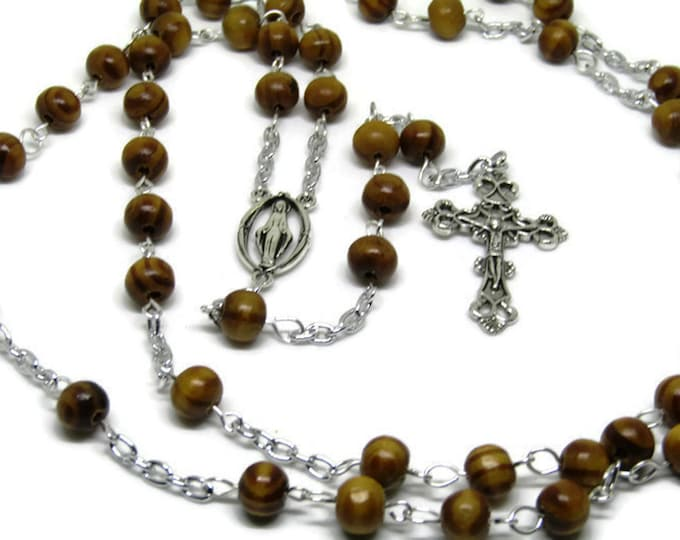 Olive Wood Rosary Bethlehem - Traditional Olive Wood Beaded Rosary - Baptism Gift - Spiritual Jewelry,
