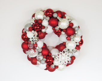 Candy Cane Christmas Ornament Wreath - Red and White Wreath - Christmas Wreath - Holiday Decor