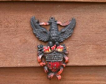 Cast Iron Match Safe, Vintage Eagle Match Holder, Toothpick Holder, Old Match Box, Patriotic Eagle Match Holder