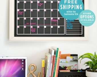 Chalkboard Calendar - Monthly Calendar -  Family Calendar - Reusable Calendar - Family Organization - Horizontal and Vertical Calendar