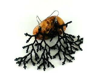 Black earrings Black coral earrings Dangle earrings Black Gift|For|Her Girl Gift|For|Women Black jewelry Gift|For|Wife Fashion jewelry