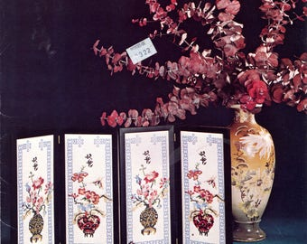 Oriental Flowers charted cross stitch designs by Jane Arlyn Crabtree | Craft Leaflet