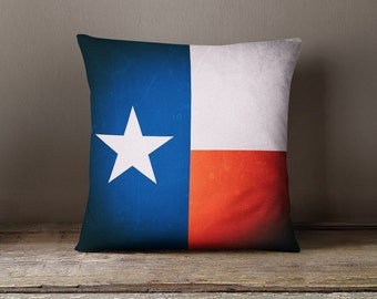 Texas pillow cover, Lone Star pillow, Texan cushion, US State pillow, American pillow, blue and white pillow,Old pillow,