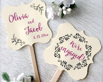 Engagement cupcake toppers, personalized cupcake picks, cupcake decoration, engagement party decor, we're engaged - 10 count(ct6)