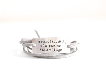 beautiful girl, inspirational bracelet, self esteem, daughter gift, graduation gift, quote jewelry, do hard things, gifts for her, motivate