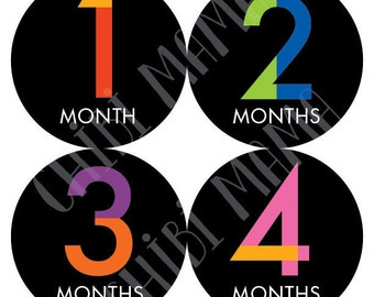 Baby Month Stickers, Baby Modern Monthly Stickers, Colorful Monthly Stickers, Baby Typography Gift, Unique Baby Gift