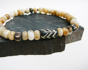 Surfer Bracelet, Men's Bracelet, Beach Bracelet For Men, Surfing Jewelry, Slim Beaded Bracelet, Rustic Graphic Feldspar, Tribal Carved Bone