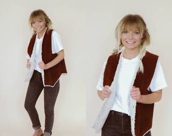 60's Real Leather/Suede and Faux Fur lined Vest