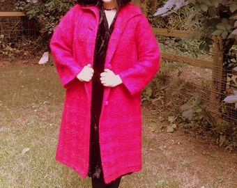 Vintage 60's mid length Mod nubby wool blend coat jacket raspberry red