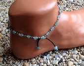 Apatite crystal with chocolate brown bright turquoise and white glass beaded anklet with beaded tassels