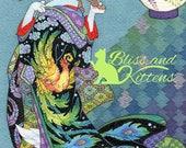 Courtesan Maneki Neko  5x7 open edition print - Japanese cat Kimono art Ukiyoe Phoenix